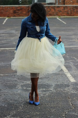 navy jean shoes - light blue mini purse - ivory tulle skirt - ivory cropped top