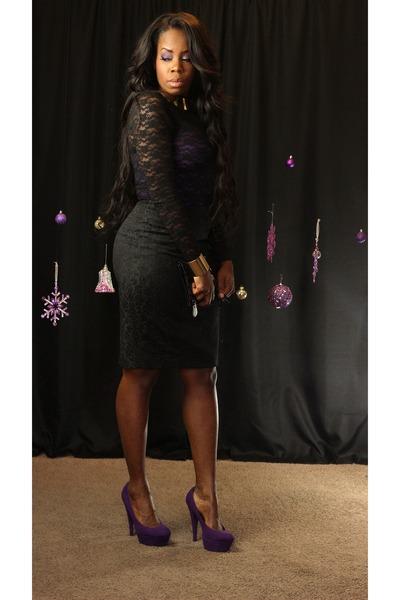 Purple Platform Shoes, Black Sheer Lace