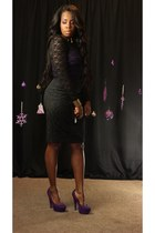 purple platform shoes - black sheer lace dress - black baroque skirt