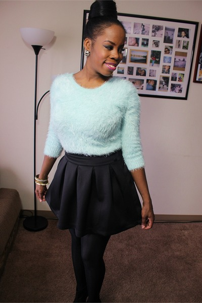 black lace boots - light blue eyelash knit sweater - black skirt