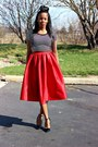 Red-skirt-white-top-black-ankle-strap-pumps-silver-ball-stud-earrings