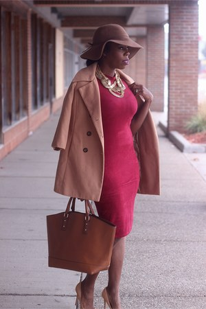 camel coat - maroon dress - bronze JustFab bag - camel lola shoetique pumps