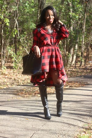 ruby red buffalo plaid Fashion Nova dress - black over the knee ALTUZARRA boots