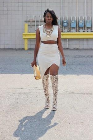 beige boots - beige 2 pc skirt