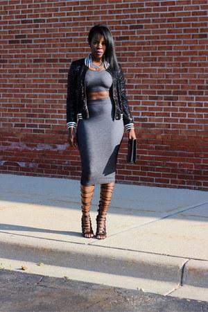black sequin jacket - black clutch purse - black 2 pc skirt - black sandals