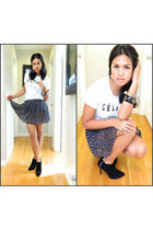 Celine top - black booties BCBGMAXAZRIA boots - polka dot skirt