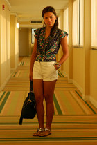 white Mango shorts - green floral f21 top - metallic Zara flats