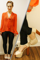 carrot orange Primark blouse - black disco pants American Apparel pants