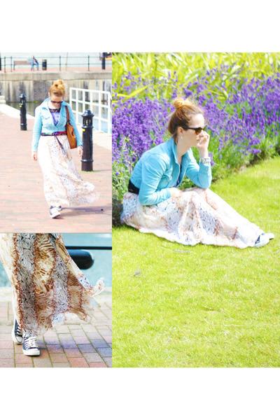 white maxi skirt OASAP skirt - light blue cropped Fashion Culprit jacket
