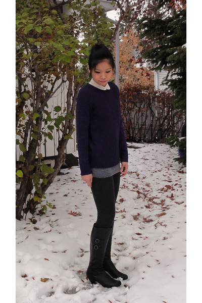 H&M sweater - Mexx Metropolitan leggings - H&M blouse - Forever 21 top