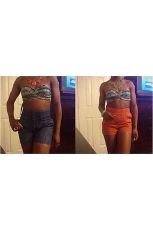 navy DIY shorts - carrot orange Forever 21 shorts - Wet Seal top