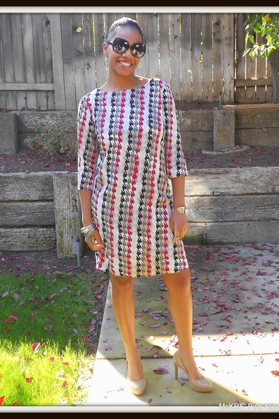 rayon blend Hancocks Fabrics dress - faux leather Fioni heels