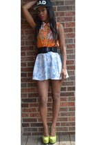 Bossy nob skirt - orange floral romwe top