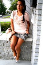 pink top - gray skirt - purple shoes - pink bag - pink earrings - beige
