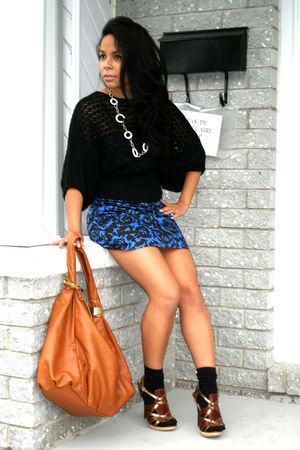 brown bag - blue dress - brown shoes - black sweater - black socks - white neckl