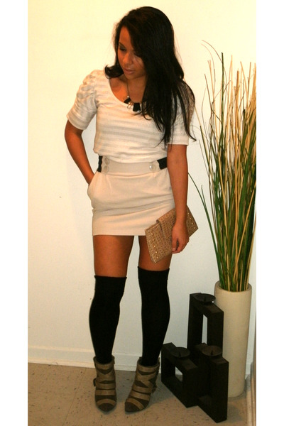 black socks - beige skirt - beige top - brown shoes - beige purse - black access