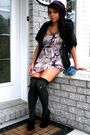Gray-cardigan-black-shoes-purple-dress-silver-necklace-blue-purse-gray