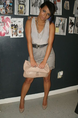 gray top - gray skirt - beige shoes - beige bag - silver accessories - gray belt