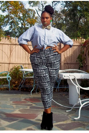 denim Ralph Lauren top - wedges - harem pants pants - bow tie SPROOS tie