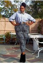 denim Ralph Lauren top - wedges - harem pants pants - bow tie SPROOS tie