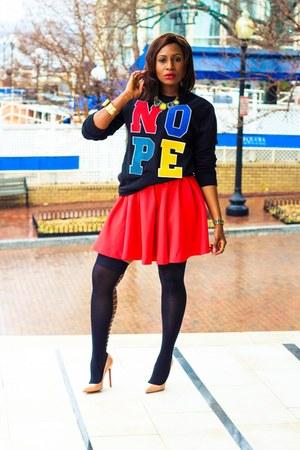 Forever 21 sweater - H&M skirt - Christian Louboutin heels