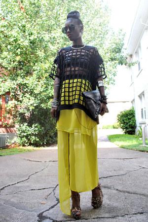 black bag - yellow dress - black cutout cage tee top