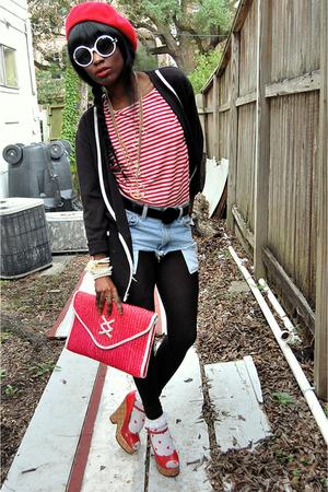 red vintage top - red vintage bag - blue denim cutoffs DIY shorts