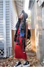 Ruby-red-dress-black-hat-black-bag-black-sneakers-sky-blue-vest