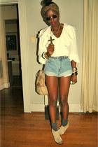 white blouse - beige seychelles shoes - brown scarf - beige bag - blue shorts