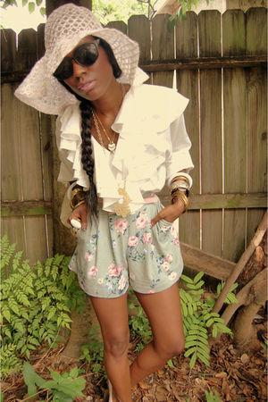 pink hat - green shorts - black sunglasses - pink belt - white blouse