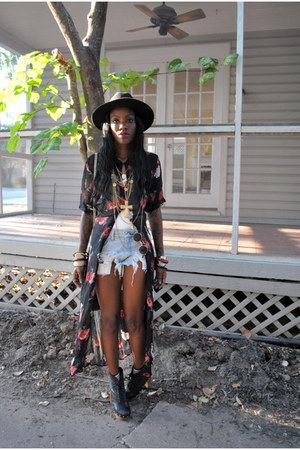 eggshell necklace - black boots - black dress - black hat - light blue shorts