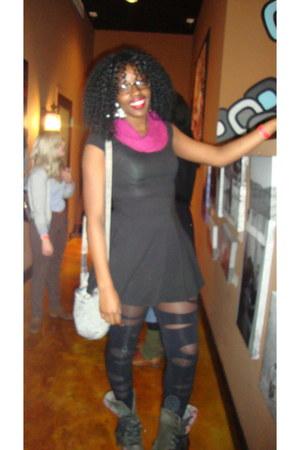 black worn Dr Martens boots - black H&M dress