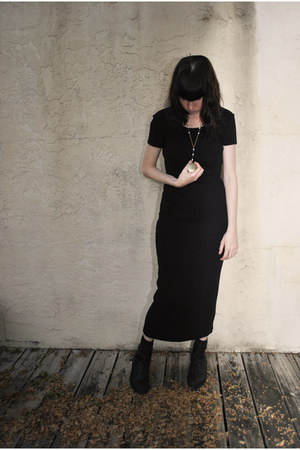 black vintage esprit dress - black Urban Outfitters boots