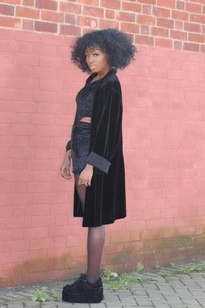 black velour charity shop cardigan - black velvet Boohoo bodysuit