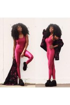 pink lycra Boohoo bodysuit