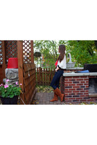 hot pink Charlotte Russe blouse - brown velvet Charlotte Russe boots