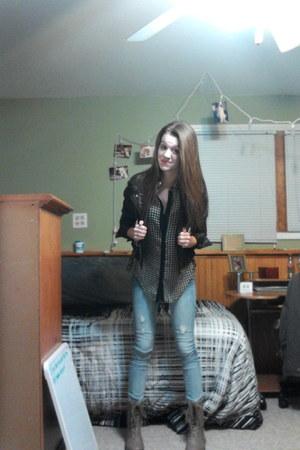 black OASAP jacket - camel Rue 21 boots - Charlotte Russe jeans