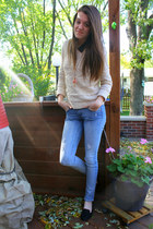 beige Forever 21 sweater - Charlotte Russe jeans