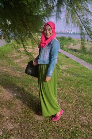 blue denim jacket - olive green dress - hot pink scarf - black Hermes bag