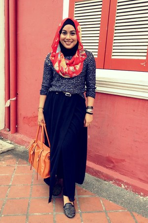 black sweater - red scarf - carrot orange bag - black sheer skirt