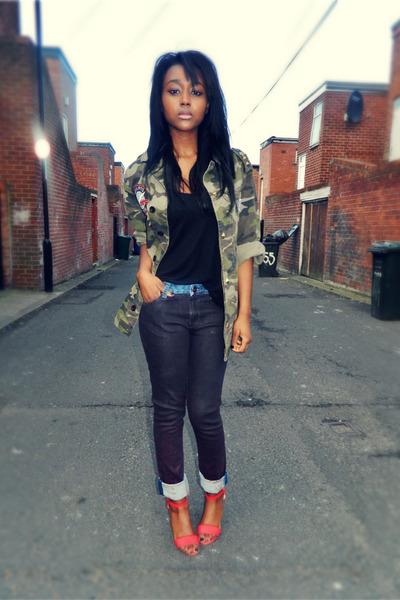 diy Primark jacket - ombre Zara jeans - neon Primark sandals