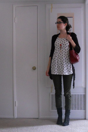 white top - black boots - ruby red bag - army green pants - black cardigan