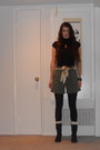 Black-boots-black-shirt-black-tights-army-green-shorts-off-white-socks