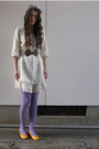 White-colza-dress-camel-h-m-coat-amethyst-mossimo-tights-off-white-bow-hea
