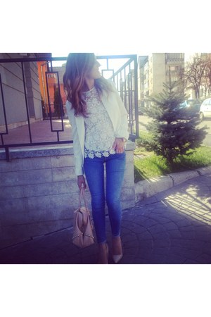 white crochet Zara blouse - blue H&M jeans - white Stradivarius jacket