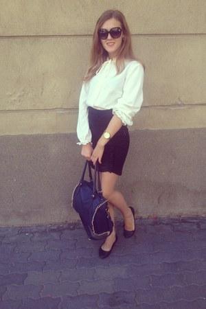 black Stradivarius sunglasses - cream Stradivarius shirt - navy random brand bag
