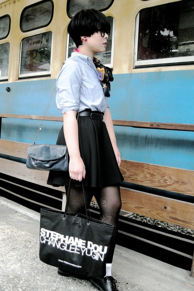black skirt - blue shirt - black stockings - white socks