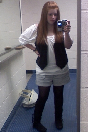 H&M vest - tights - forever 21 boots - Marc by Marc Jacobs purse