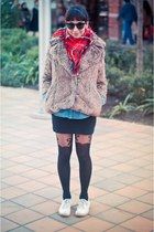 Marquis coat - scarf - skirt - Topshop panties - Keds sneakers - Sybilla glasses