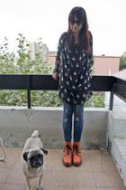 carrot orange Dr Martens boots - black bunny design Fes dress